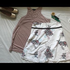 Cute white skirt with floral embroidery
